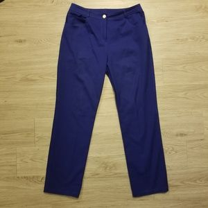 St John Womens Cobalt Blue Straight Leg Pants 8